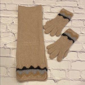 J crew hand knitted scarf and gloves